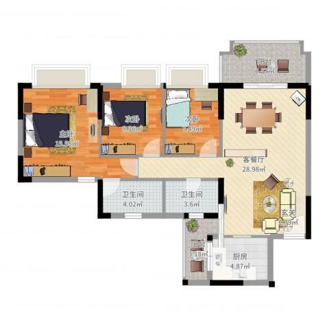 朗晴名门3室2厅2卫1厨103.00㎡户型图