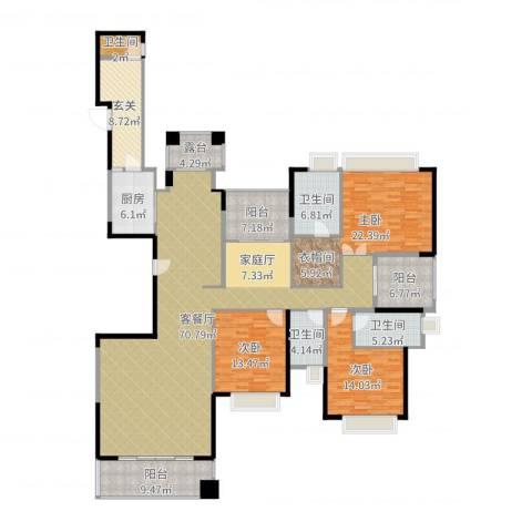 山语清晖花园3室2厅4卫1厨227.00㎡户型图
