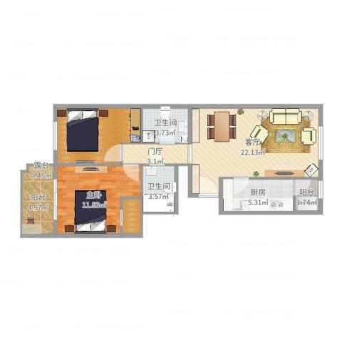 华龙苑北里1室1厅2卫1厨85.00㎡户型图
