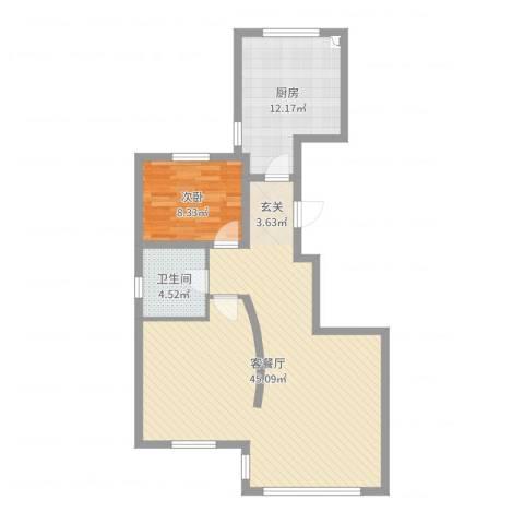 天房意境1室2厅1卫1厨88.00㎡户型图