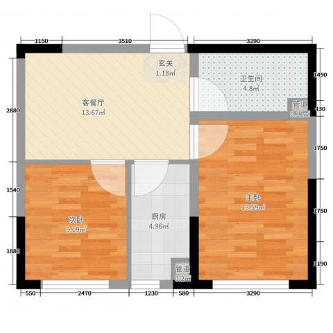 高新CBD栖乐荟2室2厅1卫1厨81.00㎡户型图