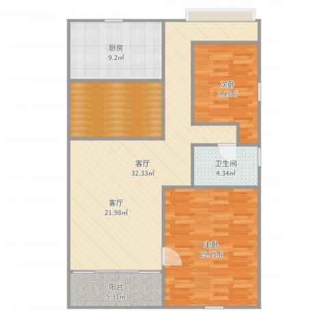 康乐大厦2室1厅1卫1厨111.00㎡户型图