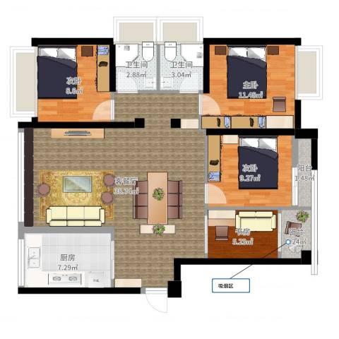 上东曼哈顿4室2厅2卫1厨113.00㎡户型图