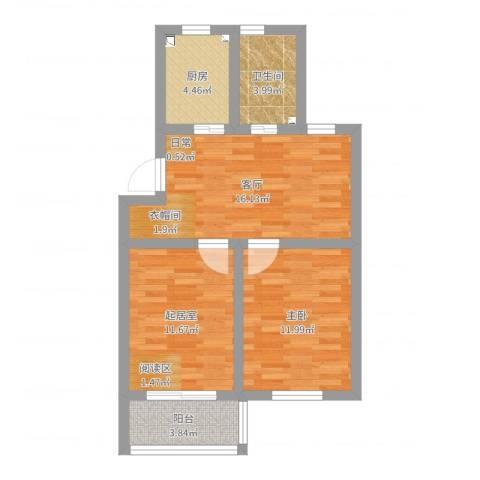 梅花三村1室1厅1卫1厨65.00㎡户型图