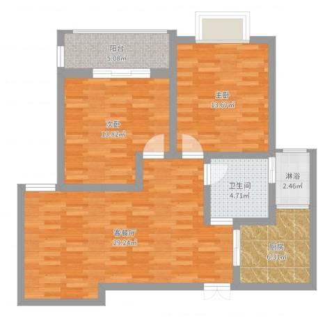 水月秦淮2室2厅1卫1厨94.00㎡户型图