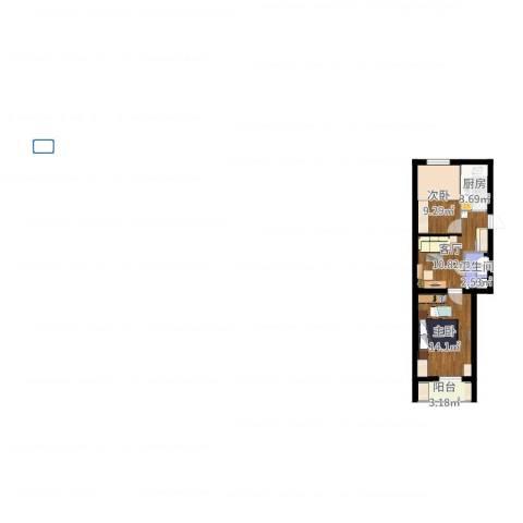 石佛营西里2室1厅1卫1厨55.00㎡户型图