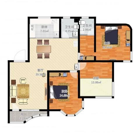 西湖城3室1厅2卫1厨132.00㎡户型图