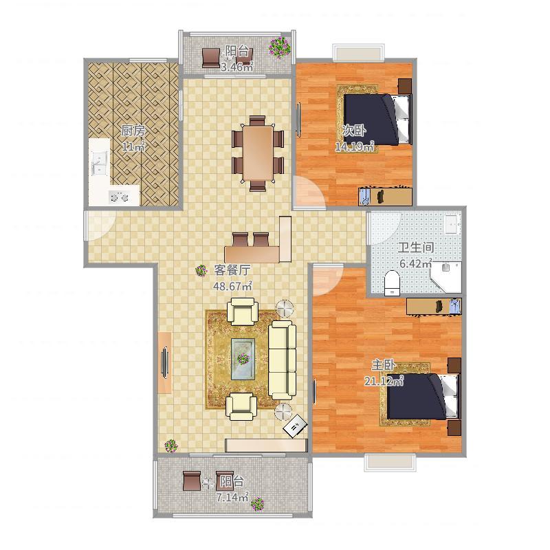 凯撒琳家居两室两厅设计案