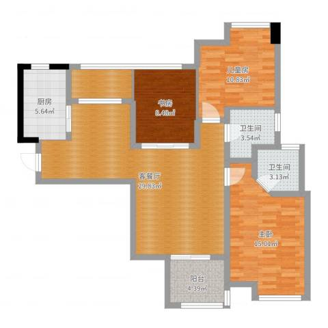 英祥春天3室2厅2卫1厨105.00㎡户型图