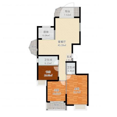 海琴湾3室2厅2卫1厨151.00㎡户型图