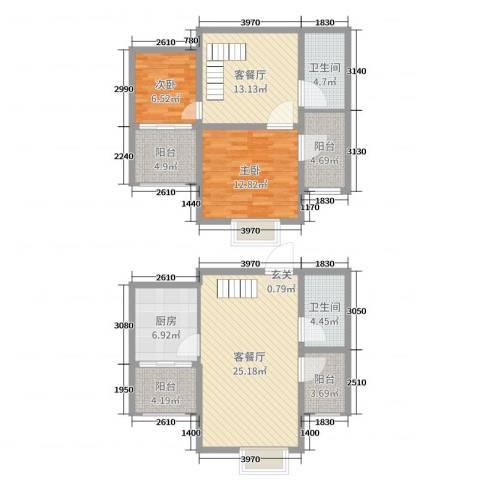 天元阳光苑2室4厅2卫1厨114.00㎡户型图