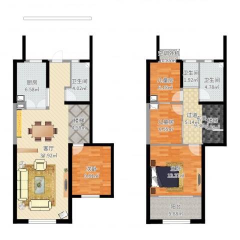 天朗蔚蓝东庭4室1厅4卫1厨134.00㎡户型图