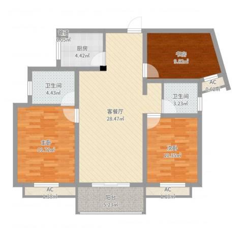 银河湾星苑3室2厅2卫1厨104.00㎡户型图
