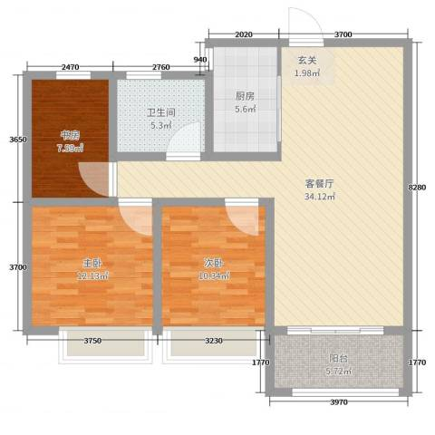 天颐郦城三期时光里3室2厅1卫1厨101.00㎡户型图