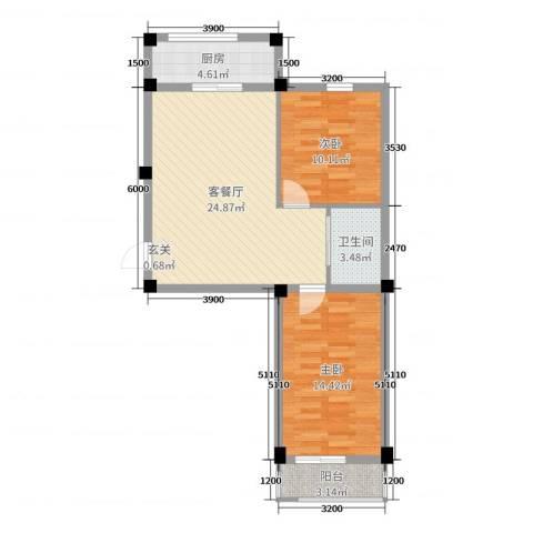 毓水蓬莱三期2室2厅1卫1厨78.00㎡户型图