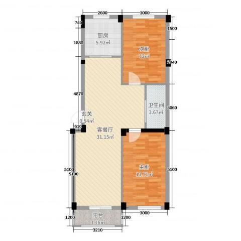 毓水蓬莱三期2室2厅1卫1厨86.00㎡户型图