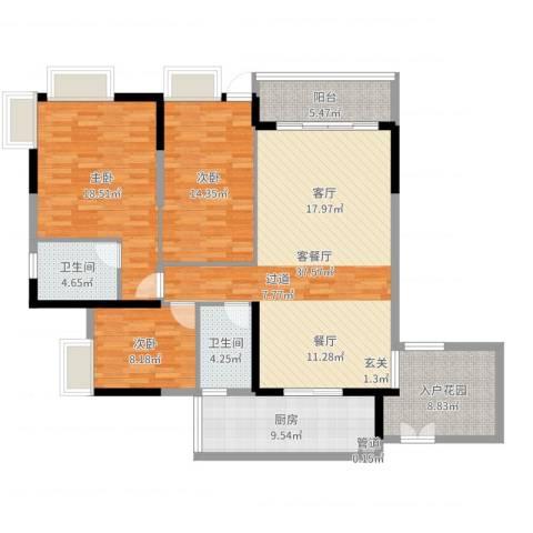 富力城时光里3室2厅4卫1厨139.00㎡户型图
