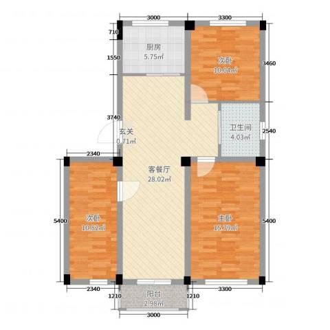毓水蓬莱三期3室2厅1卫1厨109.00㎡户型图