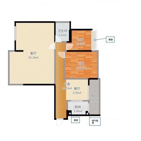东郡尚都2室1厅1卫1厨96.00㎡户型图