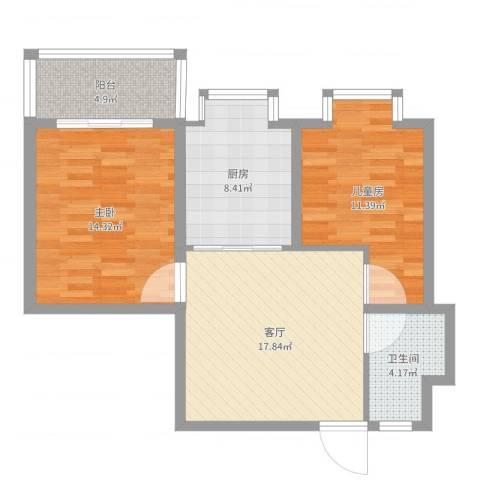 中江国际花苑2室1厅1卫1厨78.00㎡户型图