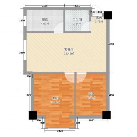 金州福佳新天地广场2室2厅1卫1厨82.00㎡户型图