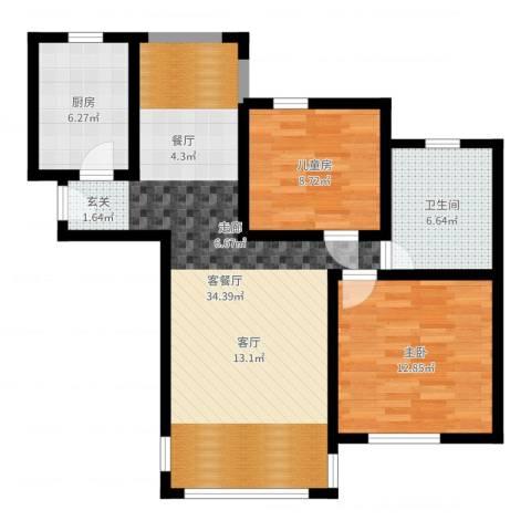 金石滩度假公园2室2厅1卫1厨86.00㎡户型图
