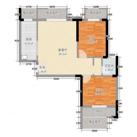 爱佳7982室2厅1卫1厨85.00㎡户型图