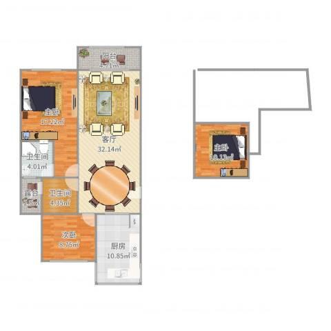 金桥新城四期金舍苑3室1厅2卫1厨118.00㎡户型图