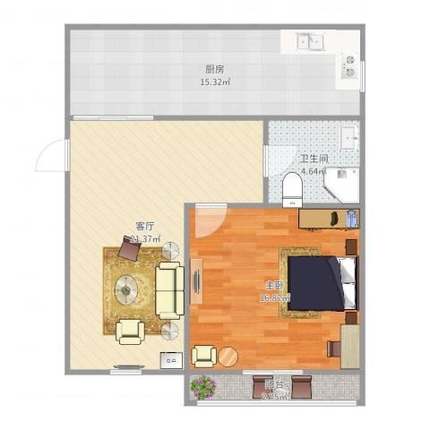 南郊新公馆1室1厅1卫1厨76.00㎡户型图