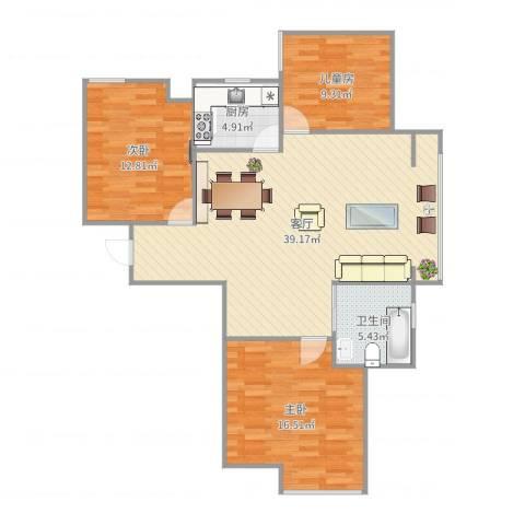 东方名城3室1厅1卫1厨110.00㎡户型图
