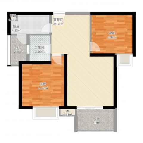 中海观园2室2厅1卫1厨89.00㎡户型图