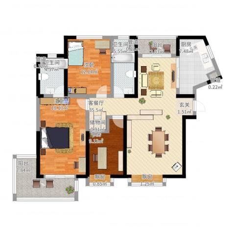 香港映象二期3室2厅2卫1厨152.00㎡户型图