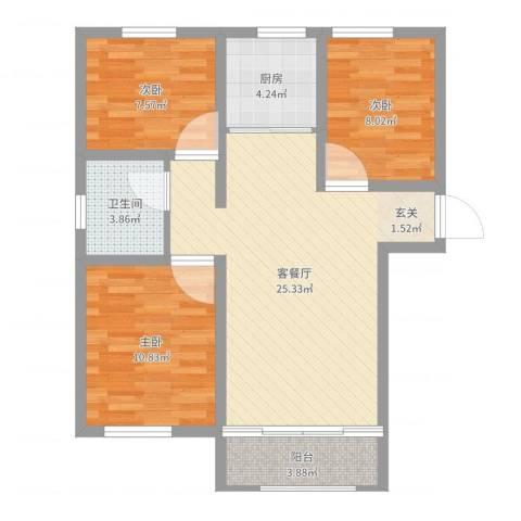 香江・卡纳溪谷3室2厅1卫1厨80.00㎡户型图
