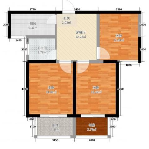 诚德盛世原著4室2厅1卫1厨88.00㎡户型图