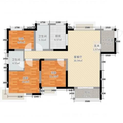 九龙仓玺园3室2厅2卫1厨120.00㎡户型图
