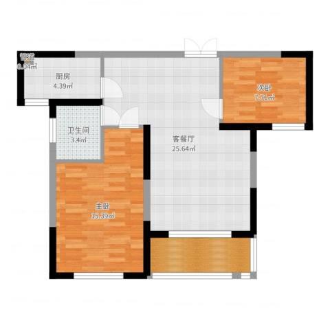 长高圆梦佳苑2室2厅1卫1厨77.00㎡户型图