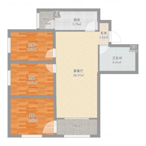 欧美风情小镇3室2厅1卫1厨98.00㎡户型图