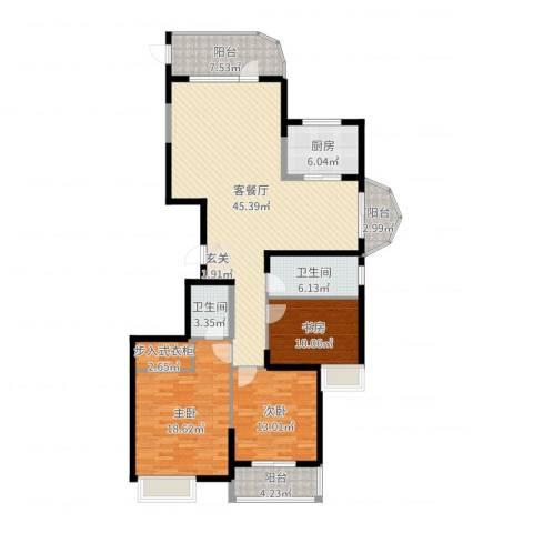 海琴湾3室2厅2卫1厨150.00㎡户型图