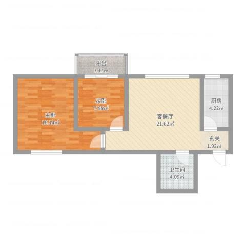 万邦迎泽苑2室2厅1卫1厨72.00㎡户型图