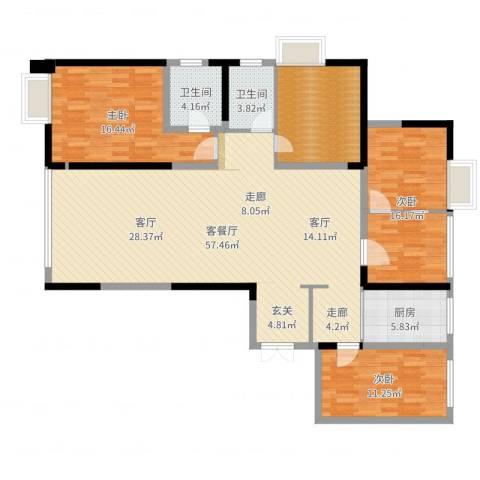 常州红星国际广场3室2厅2卫1厨157.00㎡户型图