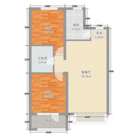 博辉万象城2室2厅1卫1厨104.00㎡户型图
