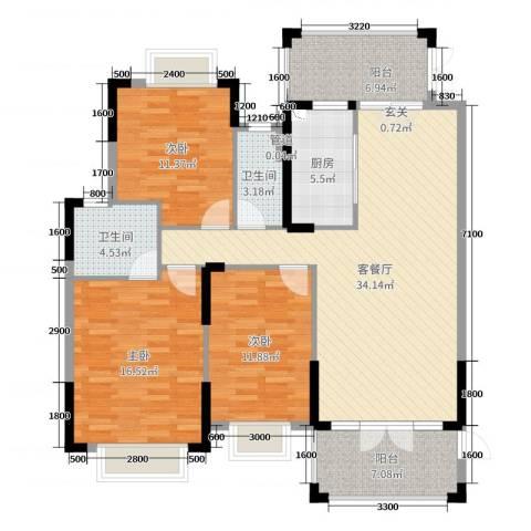 富盈加州阳光3室2厅2卫1厨110.00㎡户型图