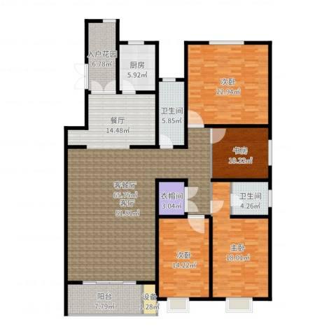 博鑫青年城4室2厅2卫1厨208.00㎡户型图
