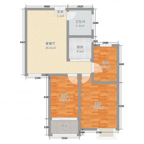 格拉斯小镇3室2厅1卫1厨93.00㎡户型图