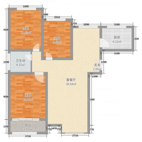 格拉斯小镇3室2厅1卫1厨113.00㎡户型图