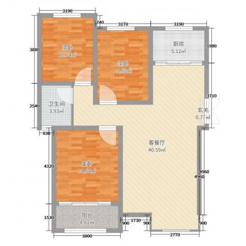 格拉斯小镇3室2厅1卫1厨114.00㎡户型图