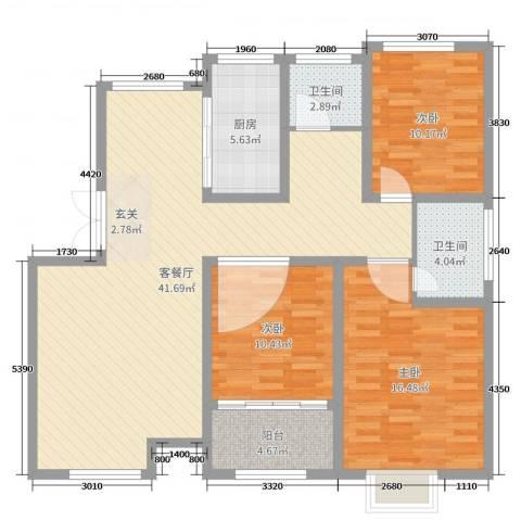 格拉斯小镇3室2厅2卫1厨120.00㎡户型图