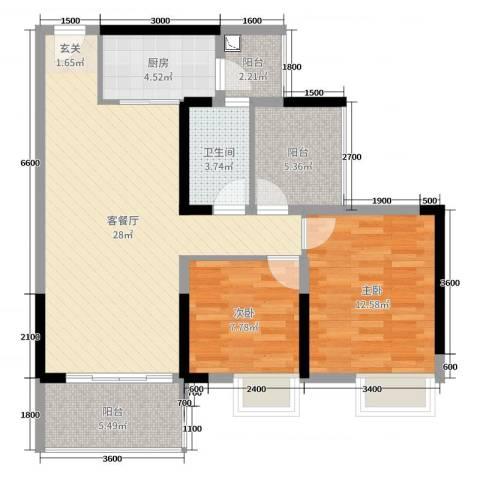 丽景湾上2室2厅1卫1厨89.00㎡户型图