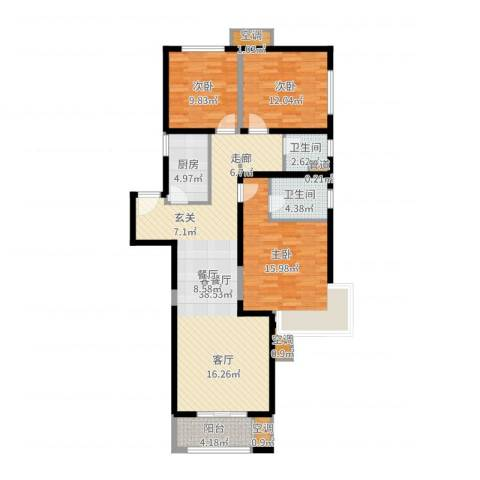 高科麓湾国际社区3室2厅6卫1厨119.00㎡户型图