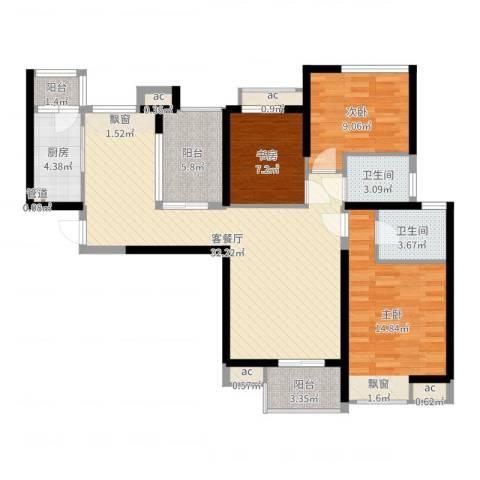 中海观园3室2厅2卫1厨109.00㎡户型图